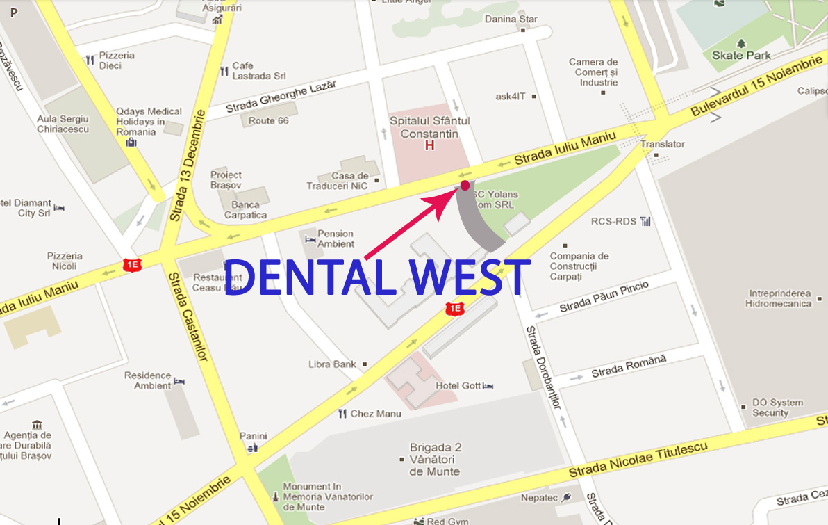 Harta google Dental West - clinica Centru